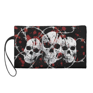 Barbed Skulls Custom Wristlets and Makeup Bags