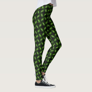 Barbed Wire Fence Green on Black Leggings