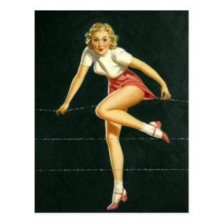 Barbed wire fence PinUp Postcard