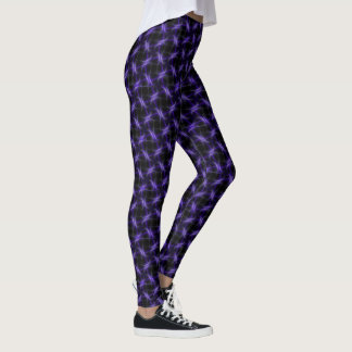 Barbed Wire Fence Purple on Black Leggings
