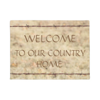 Barbed Wire Framed Welcome Mat