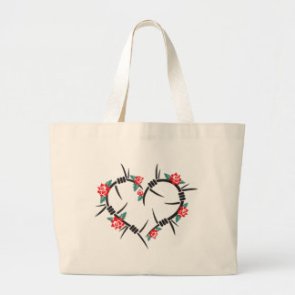 barbed wire heart & roses large tote bag