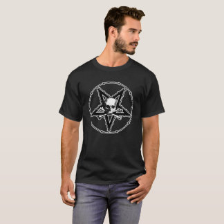 Barbed Wire Skull Pentagram Occult Goth T-shirt