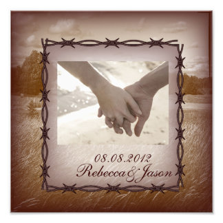 barbed wire western country wedding photo print
