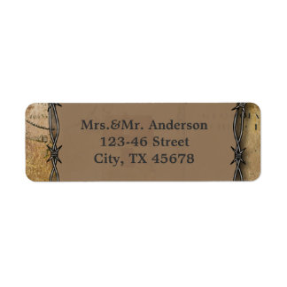 barbed wire western country wedding return address label