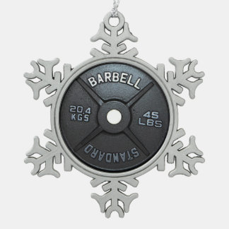 Barbell Plate Pewter Snowflake Ornament
