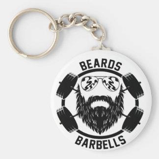 barbells beards basic round button keychain
