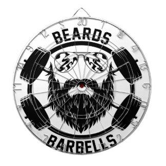 barbells beards dartboard