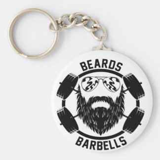 barbells beards keychain