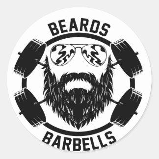 barbells beards round sticker