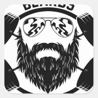 barbells beards square sticker