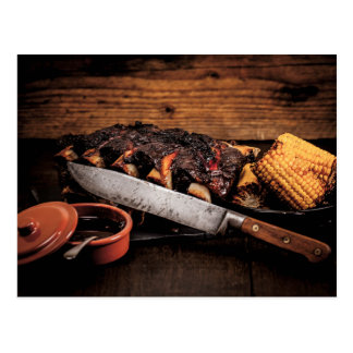 Barbequed beef ribs and corn. postcard