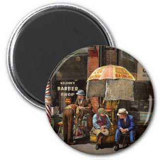 Barber - At Nelson's Barber Shop 1937 2 Inch Round Magnet