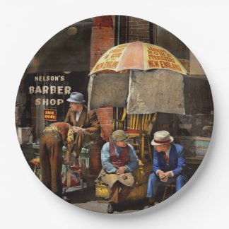 Barber - At Nelson's Barber Shop 1937 9 Inch Paper Plate