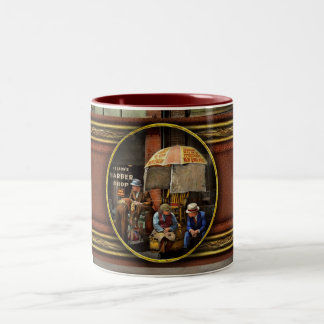 Barber - At Nelson's Barber Shop 1937 Two-Tone Coffee Mug