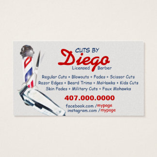 Barber Business Card (Barber pole & shears)