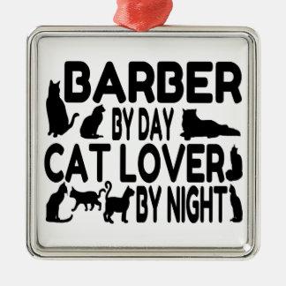 Barber Cat Lover Metal Ornament