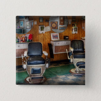 Barber - Frenchtown, NJ - Two old barber chairs  2 Inch Square Button