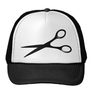 barber hairdresser scissors black trucker hat