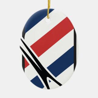 barber pole ceramic oval ornament