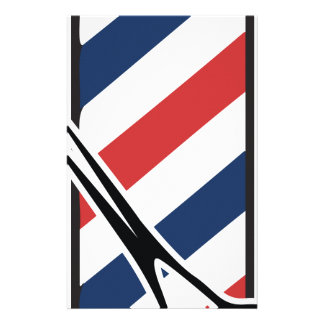 barber pole personalized stationery