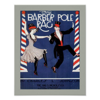 BARBER POLE RAG Vintage Sheet Music Cover Copy Poster