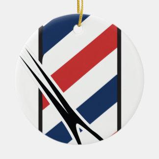 barber pole round ceramic ornament