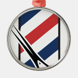 barber pole Silver-Colored round ornament