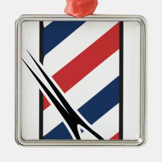 barber pole Silver-Colored square ornament