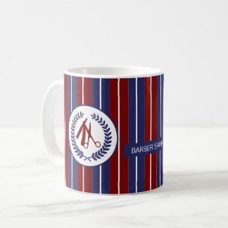 Barber salon red navy white striped modern coffee mug