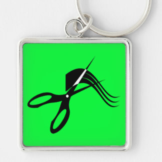 Barber Scissors - Hair Stylist Silver-Colored Square Keychain