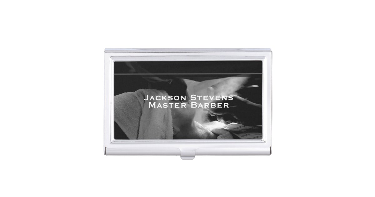 Barber shave straight edge razor photograph business card for Barber business card holder