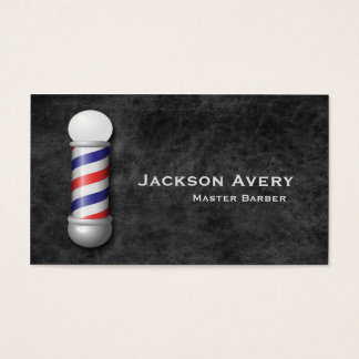 Barber Shop Barber Pole Leather Business Card
