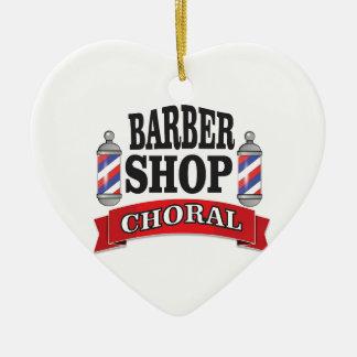 barber shop choral ceramic heart ornament