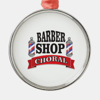 barber shop choral Silver-Colored round ornament