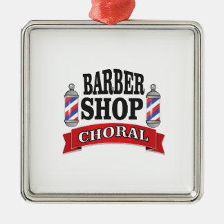 barber shop choral Silver-Colored square ornament