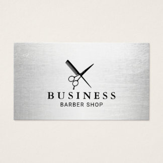 Barber Shop Hair Salon Modern Silver Minimalist Business Card