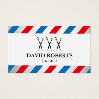 Barber Shop Hair Stylist Blue & Red Stripes Business Card