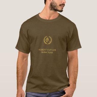 Barber shop luxury name title gold brown branded T-Shirt