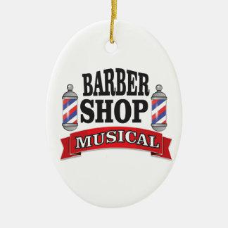 barber shop musical ceramic oval ornament