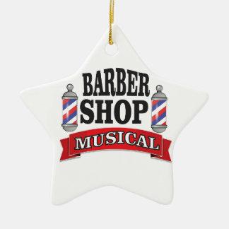 barber shop musical ceramic star ornament
