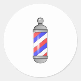 Barber Shop Pole Classic Round Sticker