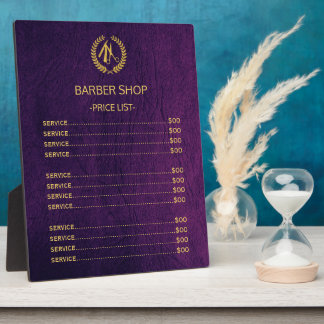 Barber shop purple leather look price list plaques