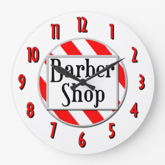 Barber Shop Red White Retro Wall Clock