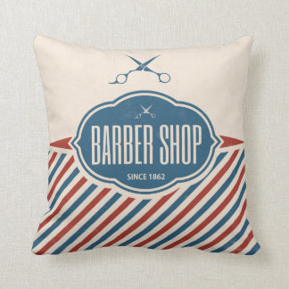 Barber Shop Retro Label Designer Accent Pillows