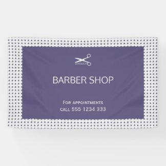 Barber shop simple navy grey star pattern banner