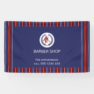 Barber shop simple red navy white stripes banner