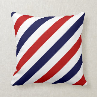 Barber shop stripes | Red white blue Throw Pillow