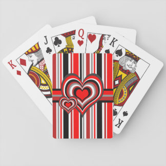 Barber shop stripes with heart red playing cards