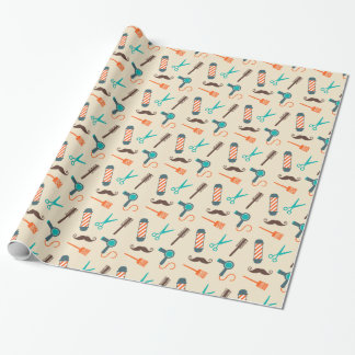 Barber shop theme wrapping paper